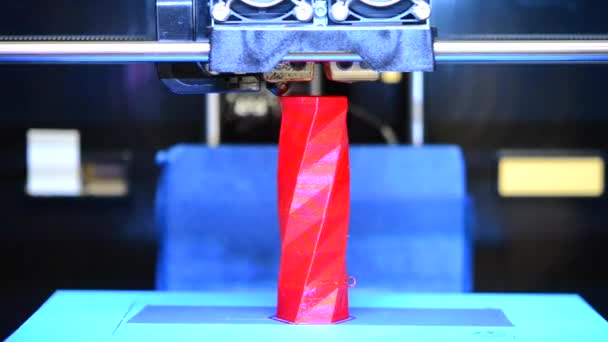 3d printing printer bright red model close-up