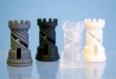 Four Objects photopolymer printed on a 3d printer.