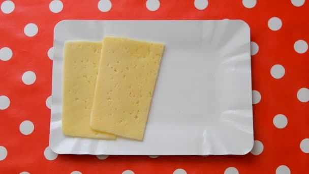 Osoba, plátky sýra. Pohled shora detail.