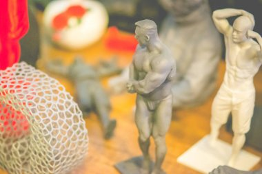 Objects form the body of a bodybuilder photopolymer printed on a 3d printer.