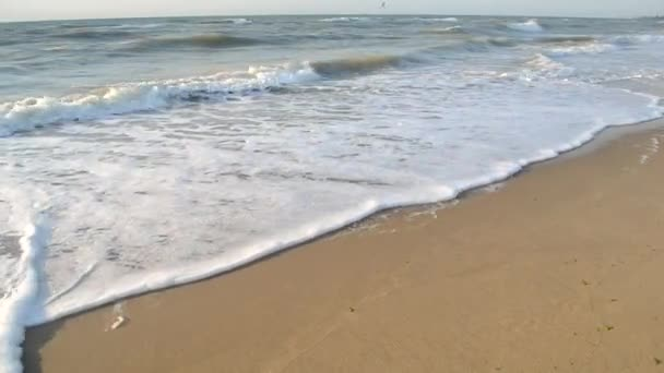 Povrch vody mořské vlny oceánu s bílou pěnou zblízka na písečné pláži.