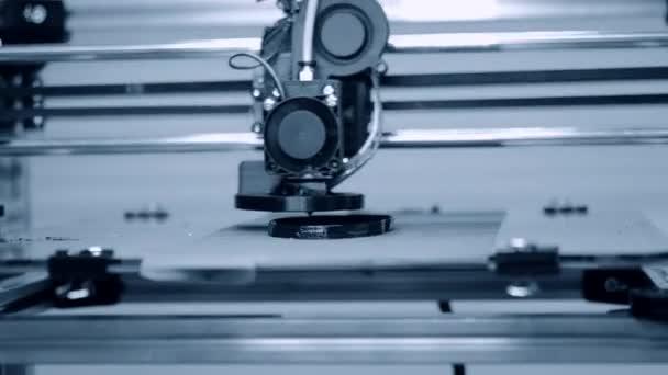 3D printer working. Fused deposition modeling, FDM. 3D printer