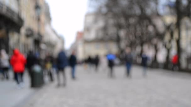 Abstract Defocused Blurred Background of many people on street
