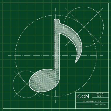 Blueprint of music icon