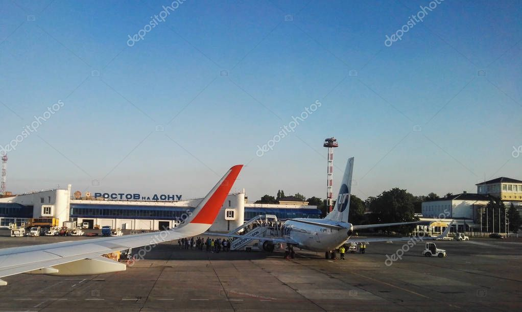Rostov on Don, Russia - August, 2017: airport Rostov on Don, russian airlines Aeroflot
