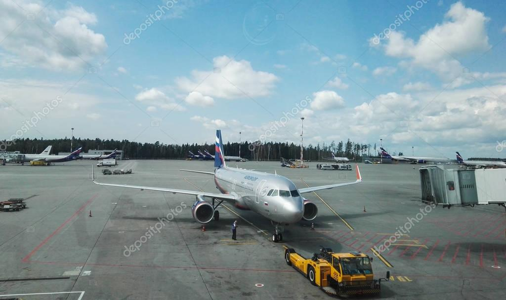 Sheremetyevo airport, Russia - August, 2017: Sheremetyevo airport, russian airlines Aeroflot