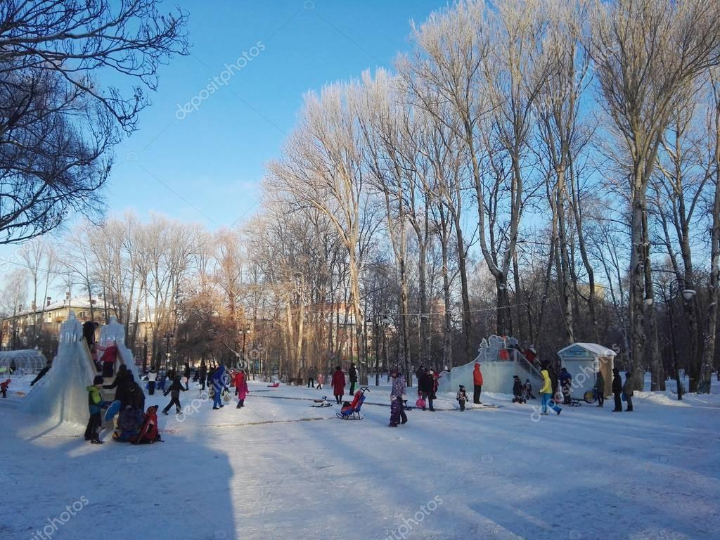 Perm, Russia, January 2017. The project is traveling in Russia. people having fun in the park