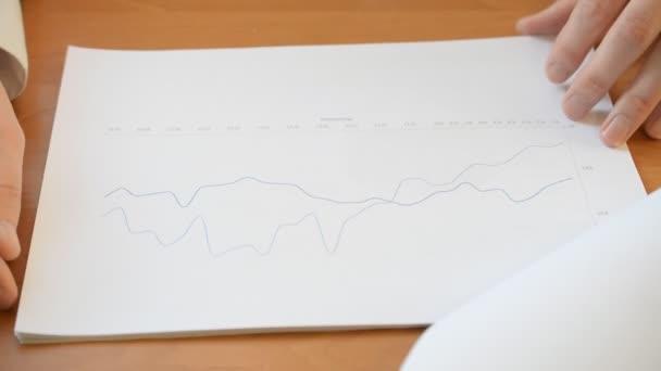 Mana hands checking financial charts and graphs