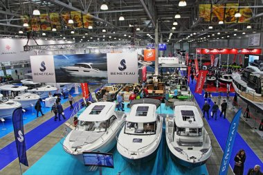 Moscow / Russia  03 05 2020: Overhead view on modern motor boats in hall of 13th International Moscow Boat Show 2019 at the Crocus Expo exhibition center