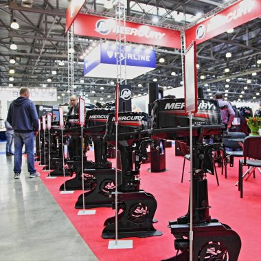 Moscow / Russia  03 05 2020:  Mercury new outboard motors on BRP Brunswick  exhibition stand on 13th International Moscow Boat Show 2020 at the Crocus Expo exhibition center