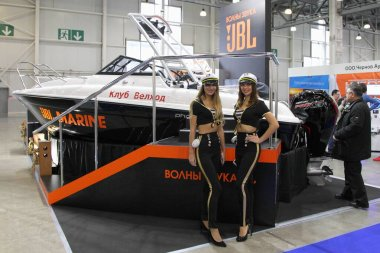 Moscow / Russia  03 05 2020: JBL marine audio exhibition stand on 13th International Moscow Boat Show 2020 in Crocus Expo