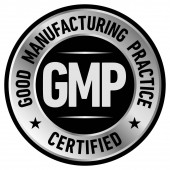 GMP Good Manufacturing Practice, certified round stamp on white background - Vector