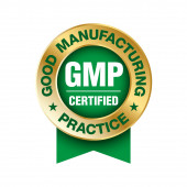 GMP (Good Manufacturing Practice) certified round stamp on white background - Vector