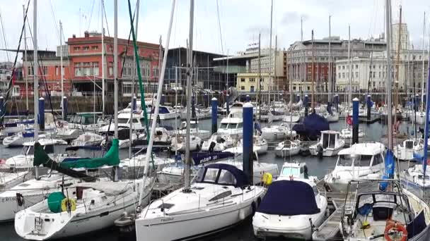 The embankment and yachts in La Coruna. La Coruna the large city in the northwest of Spain, the resort and the port.