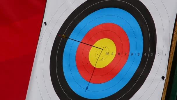 Ziele für das Bogenschießen. Der Pfeil trifft das Ziel.