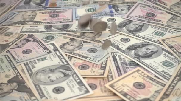 The coins of the USA falling for US dollars. Slow Motion. Shooting of money.