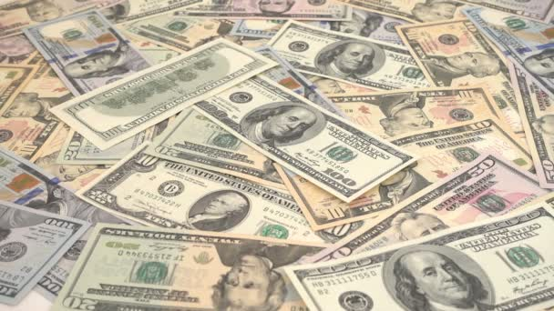 The falling dollar banknotes. Slow Motion. Shooting of money.