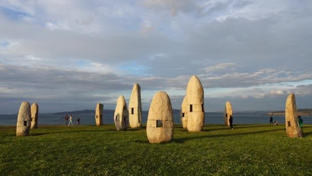 Menhirs park on Campo de la Rata. La Coruna, Spain.