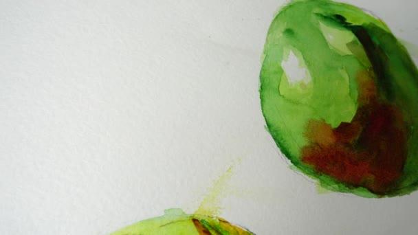 Abstraktní zátiší ve formě zeleniny. Kreslí se akvarelem.