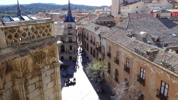 City architecture of Toledo. Toledo  the capital of autonomous community Castile-La-Mantcha in the central part of Spain located on the hill surrounded with plains.