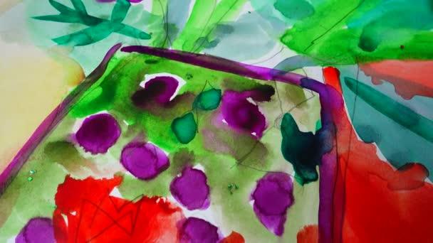 Virágok egy vázában, a rajz egy akvarell.Fénykép forgatása a mozgalomban.