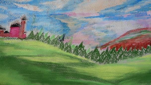 Kresba lesa a hor. Natáčení kresby.