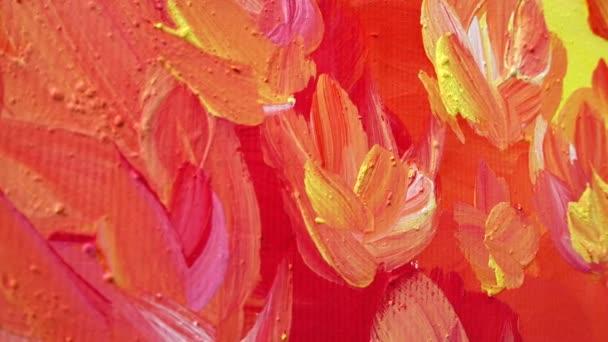 Abstraktní kresba pomalovaná gouache. Natáčení obrazu ve větě.