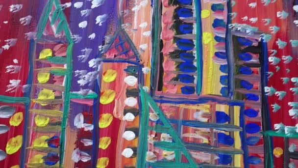 Absztrakt rajz gouache-szal festve. Képfelvétel a mozgalomban.