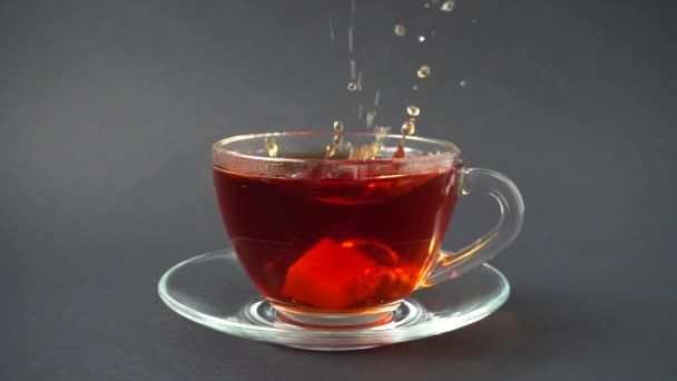 Sugar falls in a cup with tea.Slow motion.