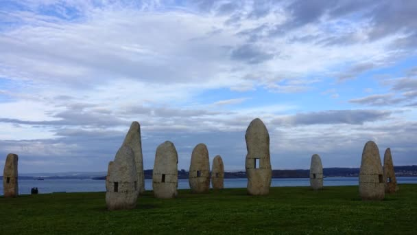 Menhirs park on Campo de la Rata. La Coruna, Spain. Timelapse. Shooting in Spain on the ocean coast.