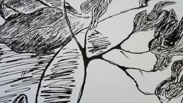 A fa és a virágok elvont rajza.