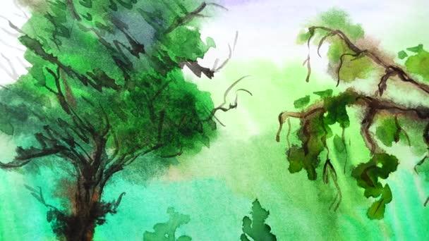 Kresba stromů v zahradě.
