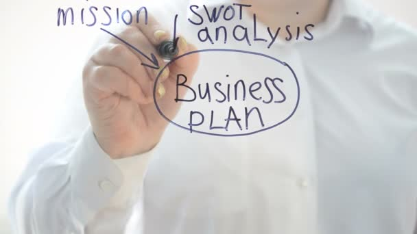 Concept of the business plan. We write with a marker.
