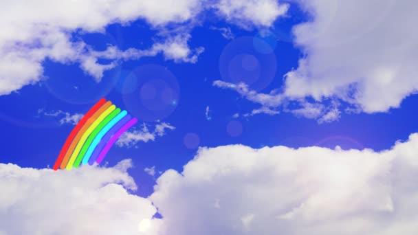 Pohyb duhy na obloze. Animace, obloha a duha