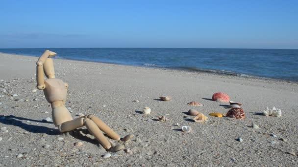 Fa bábu a parton. Lövöldözés a parton.