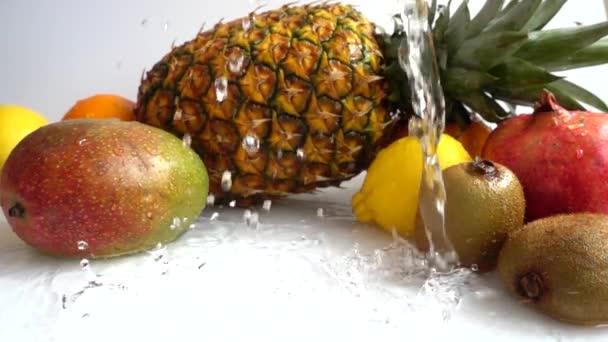 Falling of orange. Juicy ripe tropical fruits. Slow motion.