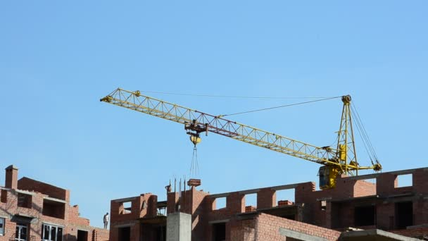 Shooting of construction of residential buildings, operation of the crane. Construction of residential buildings.