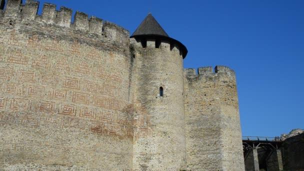 Ukrán erőd, ősi. Középkori erőd Khotyn város Nyugat-Ukrajnában.