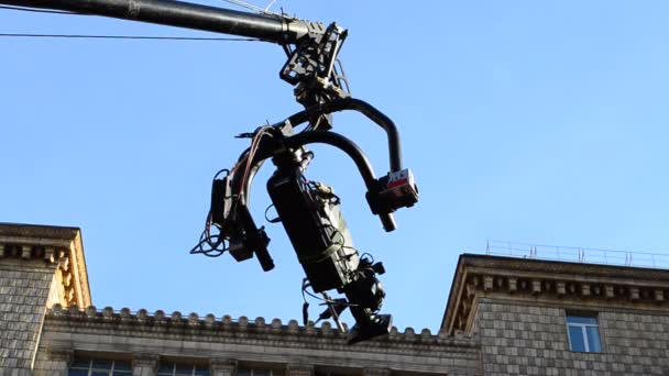 The camera on the crane. Shooting process