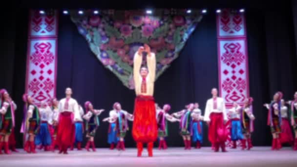 Ukrainian national dances. Out of focus. Slow motion.