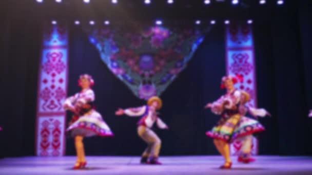 Ukrainian national dances. Out of focus. Slow motion.
