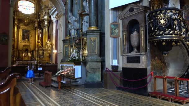 LVIV, UKRAINE - AUGUST 19, 2019: Shooting of the Catholic Cathedral.