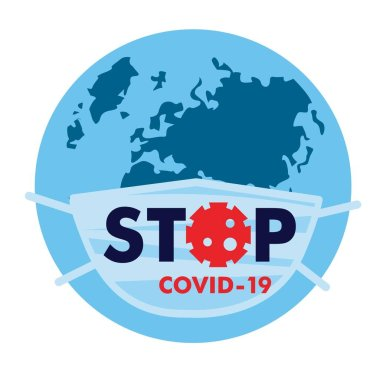 Medical protective mask with the text Stop Coranovirus Covid worn on a globe with a map of Europe and Asia. Vector, illustration, isolate, on a white background stock vector