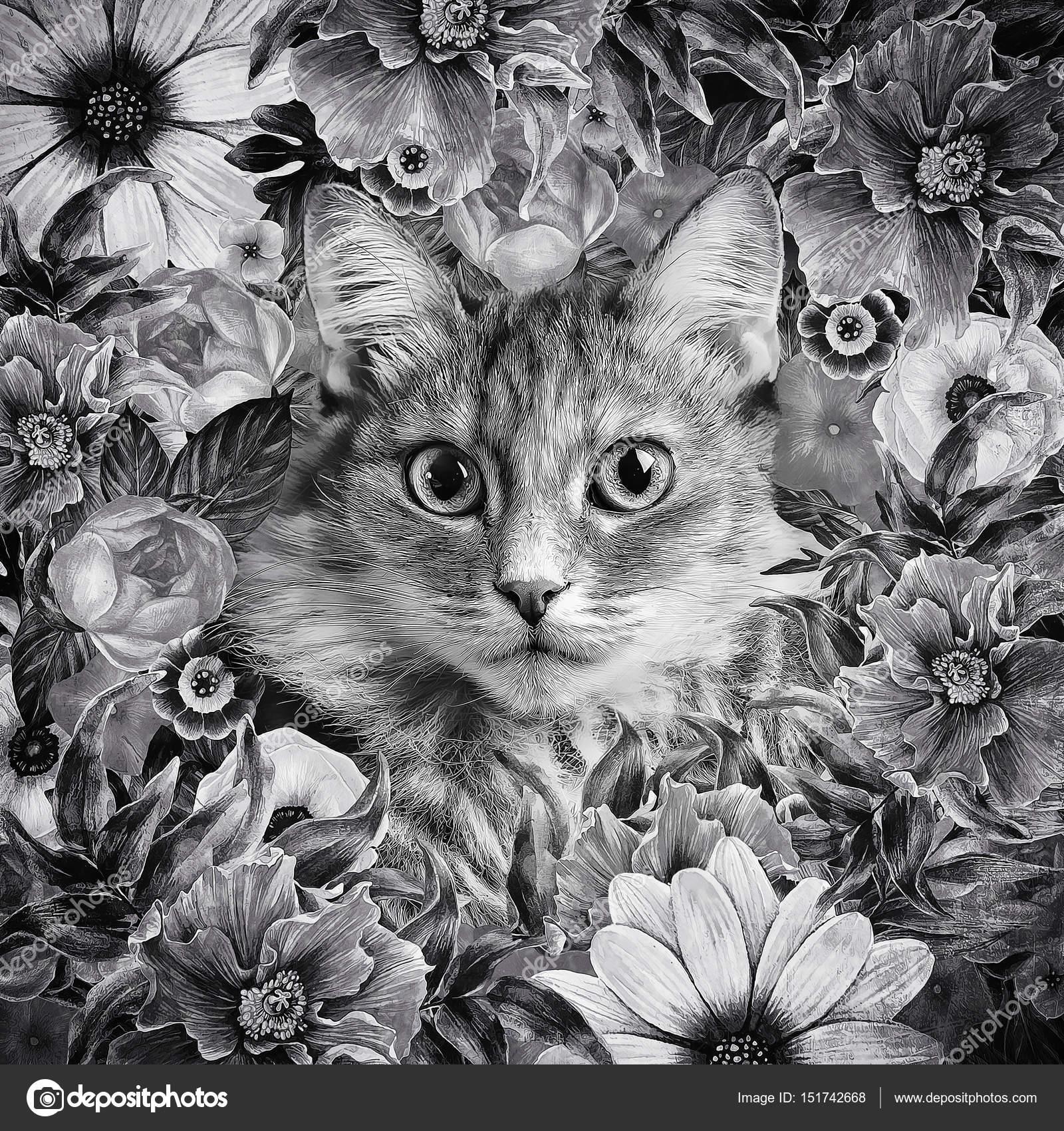 Guirnalda floral enmarcado de la cara gatito — Foto de stock ...