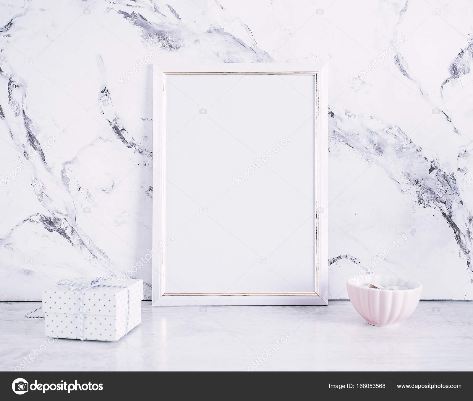 Blank Photo Frame Craft Box Marble Table Background Mockup — Stock ...