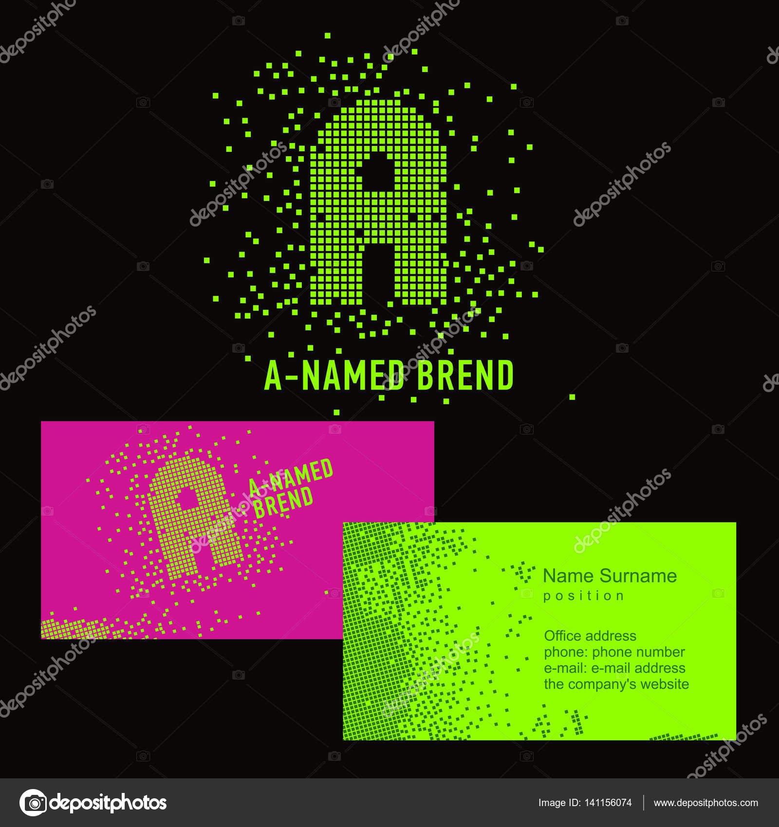 A pixel letter. Template A brand name -Company. Corporate identity ...