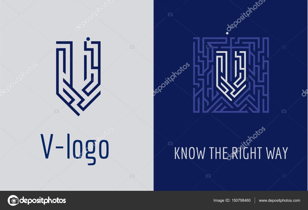 V letter logo maze creative logo for corporate identity of creative logo for corporate identity of company letter v the logo symbolizes labyrinth choice of right path solutions suitable for consulting buycottarizona Image collections