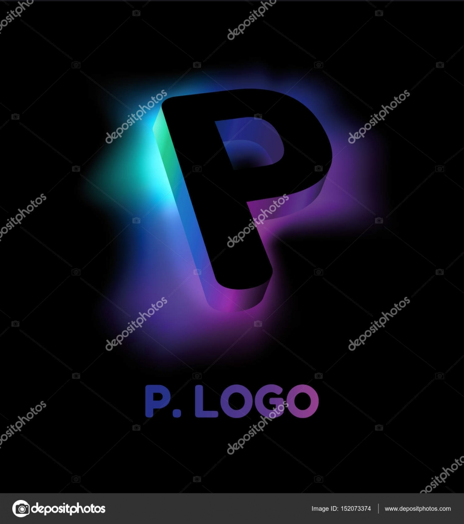 Abstract Letter P Creative Glow Pattern 3d Logo Corporate