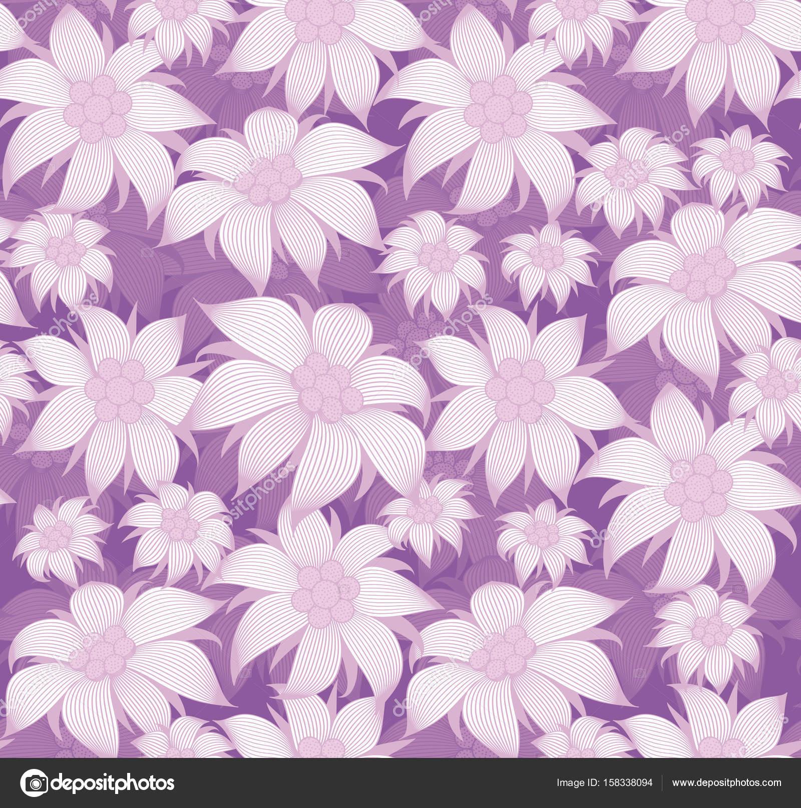 Seamless Floral Pattern On Purple Background Purple Flowers Of