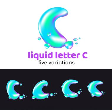 C letter is an aqua logo. Liquid volumetric letter with droplets and sprays for the corporate style of the company or brand on the letter C Juicy, watery, holographic style.